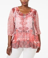 Styleandco. Style And Co. Plus Size Sheer Printed Peasant Top Only At Macy's Wishful Corals