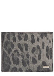 Dolce And Gabbana Grey Leopard Print Leather Wallet