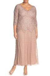 Plus Size Women's Pisarro Nights Beaded V Neck Lace Illusion Gown Light Pink