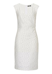 Vera Mont Stretch Lace Dress With False Wrap Off White