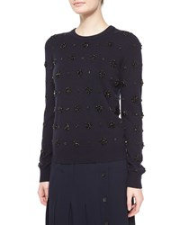 Michael Kors Stretch Cashmere Long Sleeve Embellished Sweater Navy