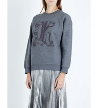 Christopher Kane Embroidered Cotton Jersey Sweatshirt Grey Melange