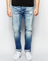 Replay Jeans 901 Tapered Fit Stretch Mid Vintage Distress Wash Blue