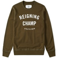 Reigning Champ Gym Logo Crew Sweat Green
