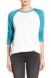 Women's Treasure And Bond Burnout Baseball Tee White Snow Teal Britt Combo