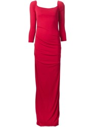 Nicole Miller Long Fitted Dress Red
