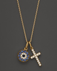 Bloomingdale's Diamond And Sapphire Cross And Evil Eye Pendant In 14K Yellow Gold .15 Ct. T.W.