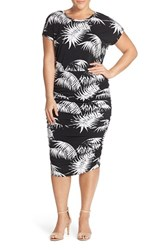 Plus Size Women's Vince Camuto Palm Print Ruched Sheath Dress