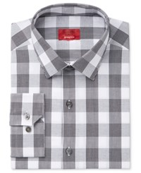Alfani Men's Slim Fit Stretch Black White Plaid Dress Shirt Only At Macy's Black And White