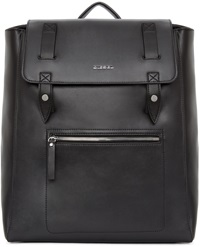 Diesel Black Leather Flap Backpack