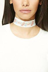 Forever 21 Floral Embroidered Choker Cream Multi