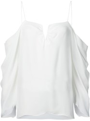 Nicole Miller Cut Out Draped Blouse White
