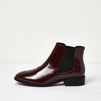 River Island Womens Dark Red Patent Chelsea Boots