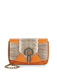 Dannijo Rocha Embellished Snake Embossed Leather Clutch Cuoio