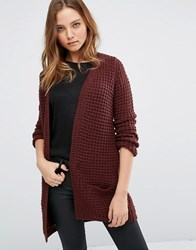 Vero Moda Waffle Knit Long Sleeve Cardigan Brown
