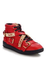 Moschino Logo Wrap Around Strap Leather Sneakers Red