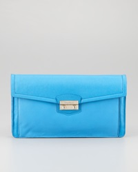 Cole Haan Zoe Leather Flap Top Clutch Blue Topaz