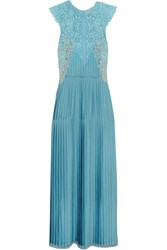 Stella Mccartney Adele Guipure Lace Paneled Pleated Satin Gown Light Blue