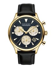 Movado Heritage Stainless Steel And Leather Watch Black Gold