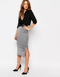 Warehouse Smart Rib Side Split Tube Skirt Gray