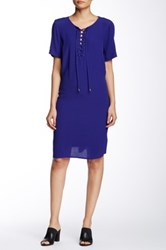 Daniel Rainn Short Sleeve Lace Up Shift Dress Blue
