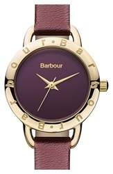 Women's Barbour 'Heritage' Leather Strap Watch 26Mm Purple Gold