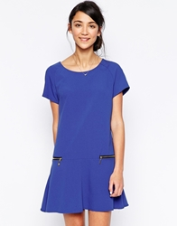 Wal G Pep Hem Dress With Zip Detail Electricblue