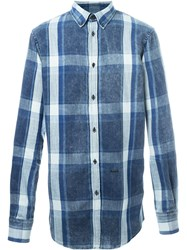 Dsquared2 Button Down Plaid Shirt Blue