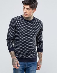 Scotch And Soda Jumper With Spot In Crew Neck Cotton In Navy Navy