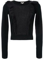Manoush Ruffle Cable Knit Jumper Black