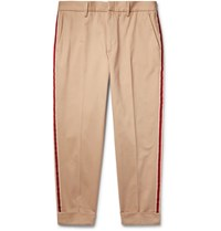 Gucci Tapered Cropped Webbing Trimmed Cotton Twill Chinos Sand
