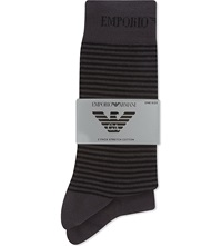 Emporio Armani Plain And Striped Socks 2 Pack Anthracite