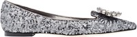 Dolce And Gabbana Jeweled Paillette Flats Grey