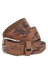 Men's A. Kurtz 'Hadden' Camo Print Leather Belt Brown