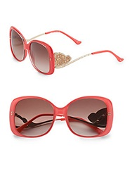 Judith Leiber 55Mm Square Crystal Butterfly Sunglasses Pink