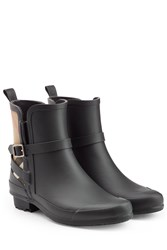 Burberry Shoes And Accessories Matte Rubber Rain Boots With Check Panel Black