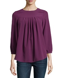 Catherine Catherine Malandrino Pleated Georgette Blouse Cabernet