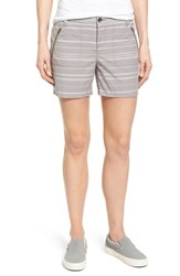 Women's Caslon 'Addison' Zip Pocket Shorts Grey Ivory Stripe