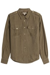 Burberry Brit Silk Uniform Shirt Green