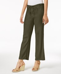 Nydj Petite Jamie Linen Blend Drawstring Pants Fatique