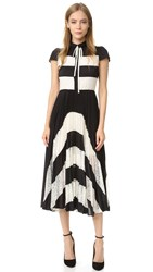 Alice Olivia Gale Cap Sleeve Pleated Dress Black Bone