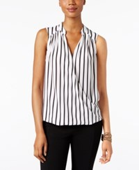 Inc International Concepts Striped Surplice Blouse Only At Macy's Black White Stripe