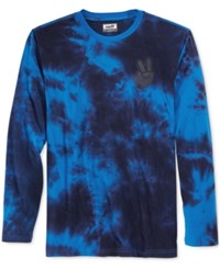 Neff Men's Long Sleeve Tie Dye T Shirt Navy