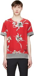 Valentino Grey And Red Flower T Shirt