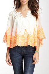 Hazel Embroidered Lace Poncho Top White