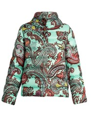 Etro Paisley Print Quilted Down Jacket Light Blue