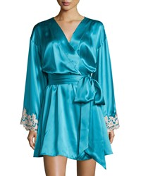 La Perla Maison Lace Trim Short Robe Turquoise Size 3 Medium