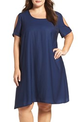 Sejour Plus Size Women's Cold Shoulder Swing Dress Navy Peacoat