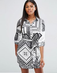 Parisian Shirt Dress In Mono Scarf Print White Black Multi
