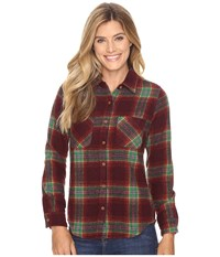 United By Blue Cayley Wool Plaid Oxblood Green Women's Clothing Burgundy